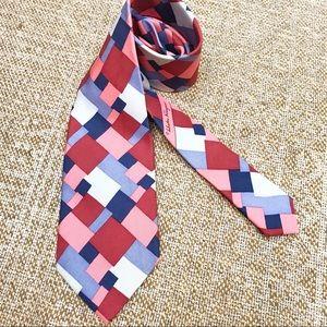 Salvatore Ferragamo men's silk tie geometric